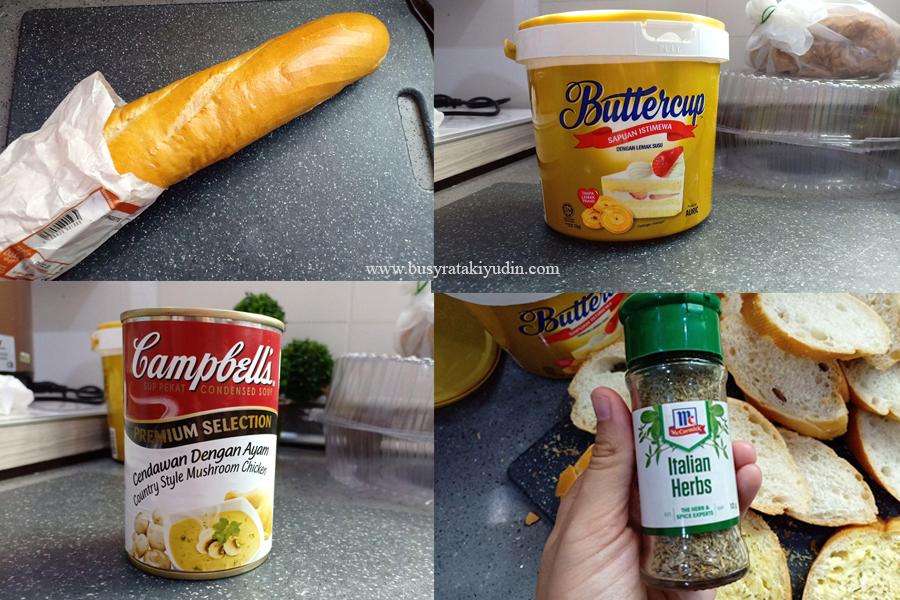 garlic bread, mushroom soup, resepi ringkas, resepi sedap,