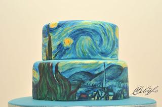 Pastel Decorado con una obra de Van Gogh