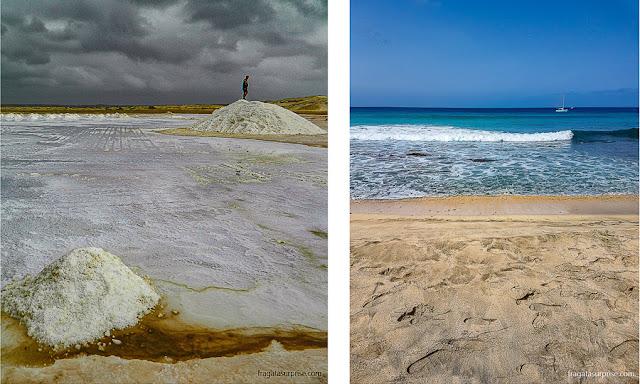 Salinas e praias na Ilha do sal, Cabo Verde