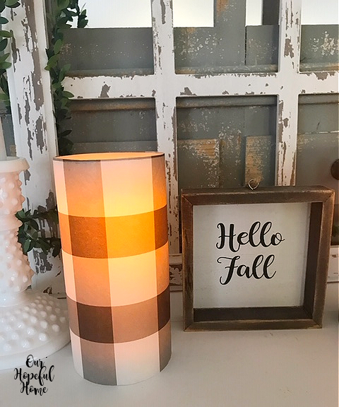 Hello Fall wall art buffalo check LED candle
