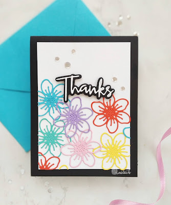Stamplorations -Trendy spring bloom dies, Die cut floral card, TO, Stamplorations, simon says stamps, die cutting, Thank you card, floral card, Quillish, Easy card with die cut flowers