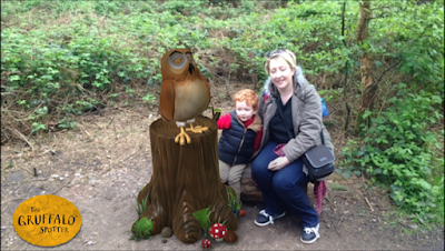 Screen shot showing Mummy, son and Owl from the Gruffalo