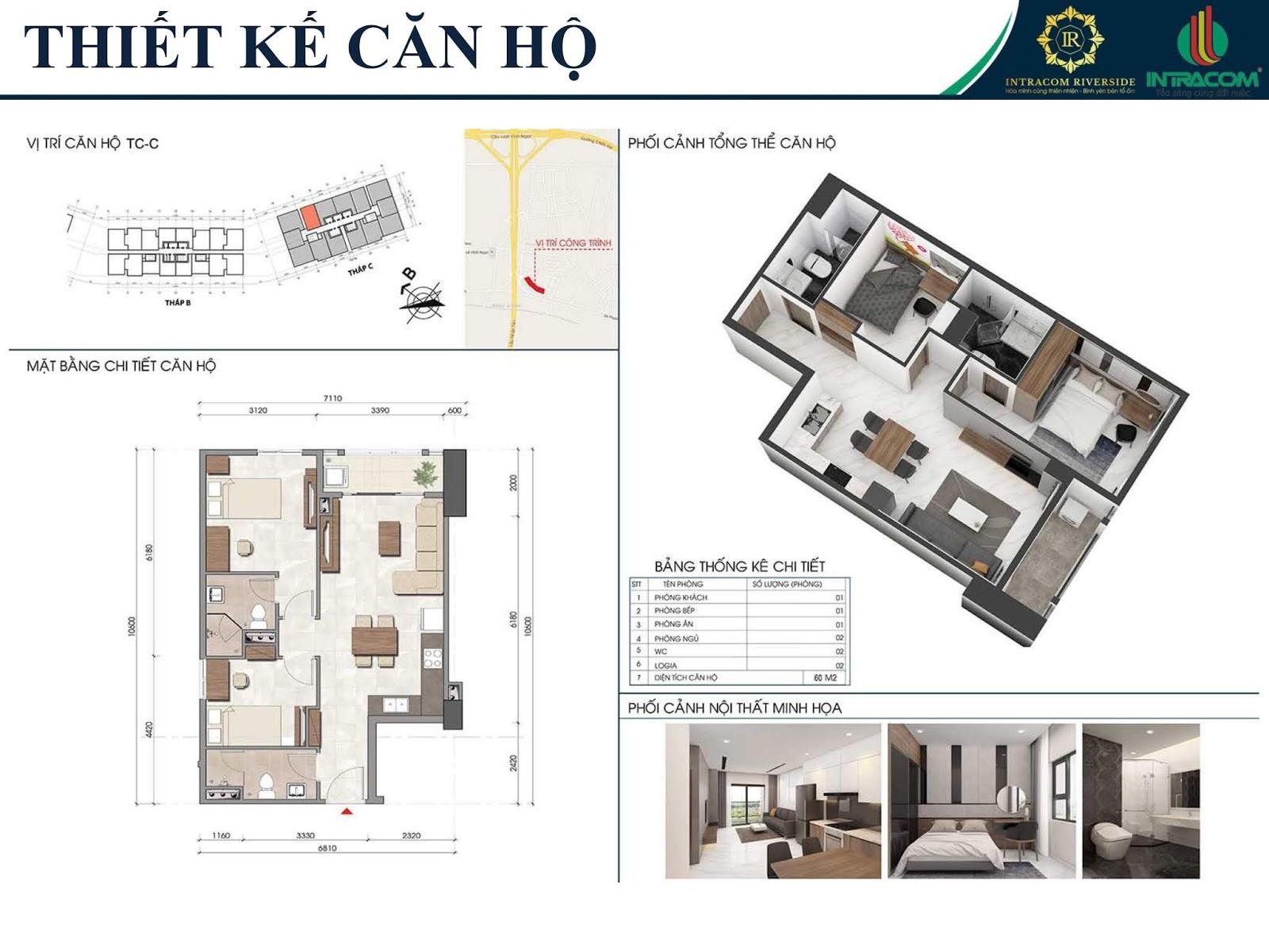 Thiết kế căn 02 - 05 - 60m2