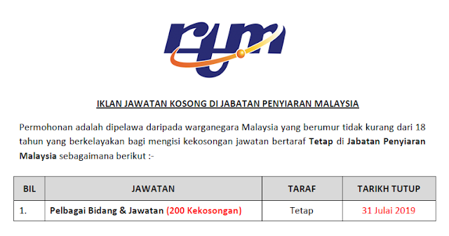 jawatan kosong di jabatan penyiaran malaysia