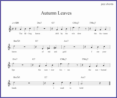 gambar notasi autumn leaves jazz