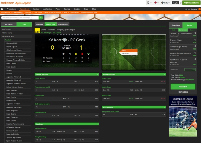 Betsson Live Betting Screen