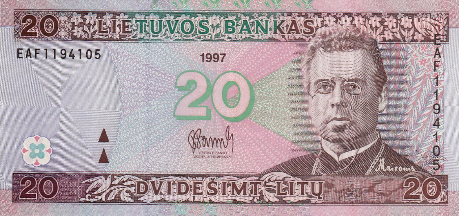 Banknotes of Lithuania 20 Litu banknote 1997 Maironis