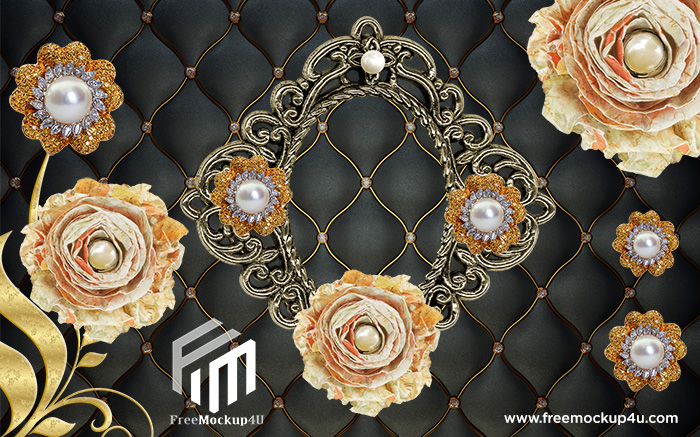 3D High End Style Pearl Black Soft Package Background Wall