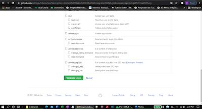 Generate new toke acces on Github Settings