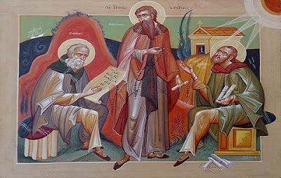 Οι τρεις Ιεράρχες ως μοναχοί. Εικονογράφηση Γεώργιος Κόρδης
