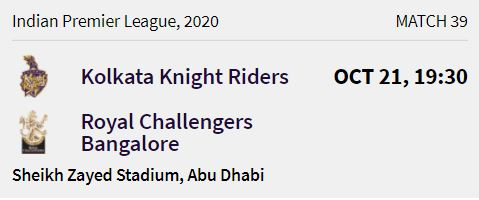 Kolkata Knight Riders match 10 ipl 2020