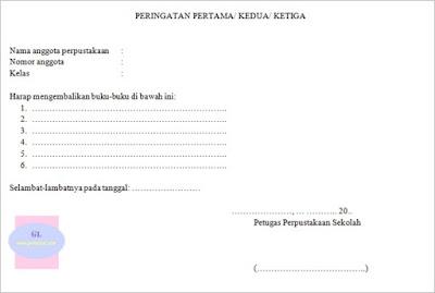 contoh format blanko peringatan pengembalian buku perpustakaan