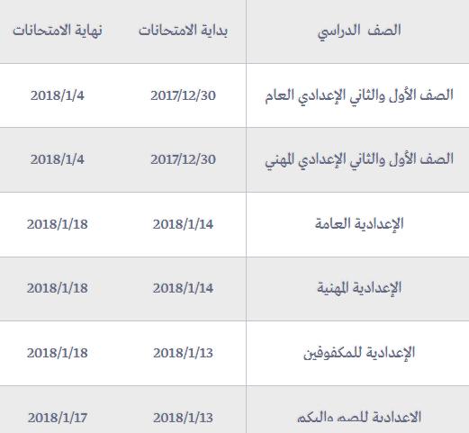 جدول امتحانات نصف العام للمرحلة الاعدادية
