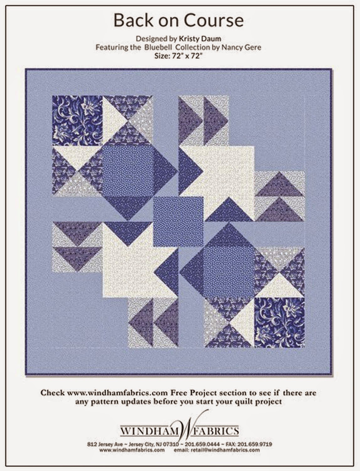 BACK ON COURSE Quilt Pattern // Kristy Daum for Windham Fabrics
