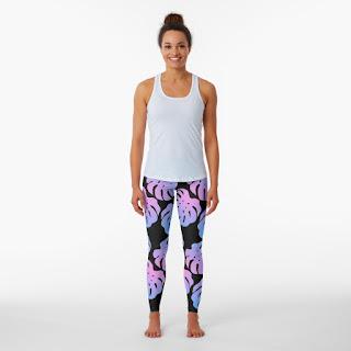 monstera leaf purple pattern leggins