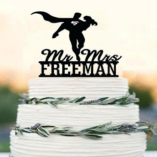 Superhero acrylic Wedding Cake Topper
