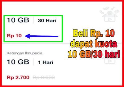 Hanya modal 10 Rupiah dapat kuota 10 GB selama 30 hari