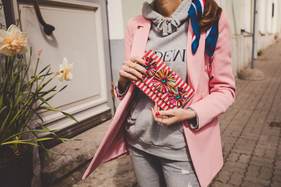 pink blazer striped clutch hoodie outfit