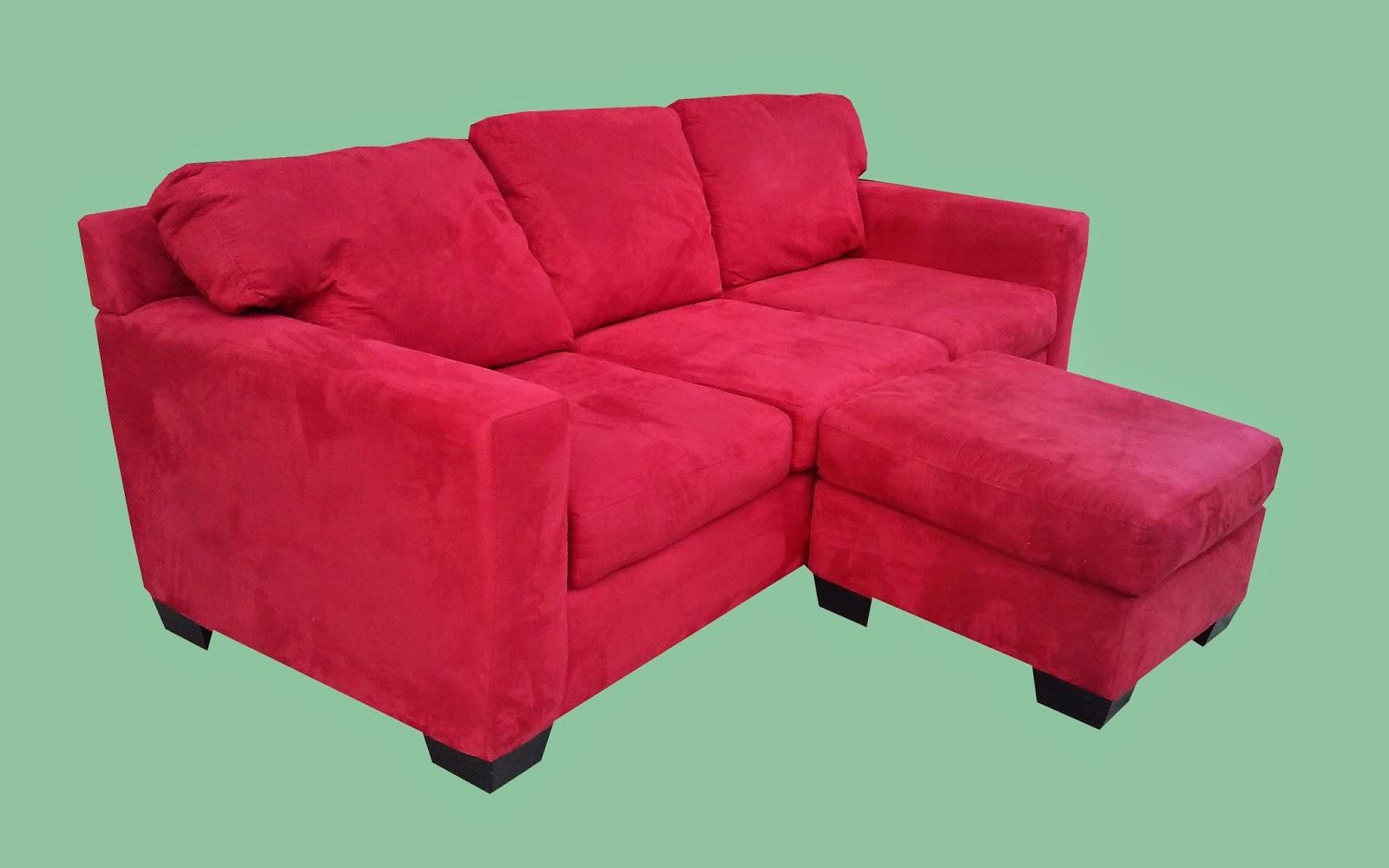 Red Microfiber Sofa Half Round Patio Uhuru Furniture And Collectibles Plush