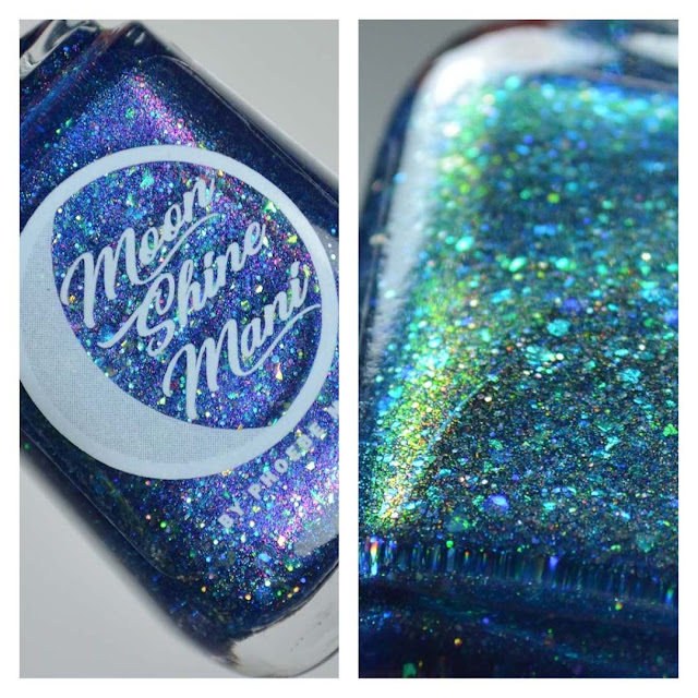 blue linear holographic nail polish with flakies in a bottle