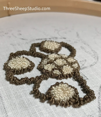 'Peaceful Garden' Punch Needle design by Rose Clay at ThreeSheepStudio.com in the 'Studio/Shop'