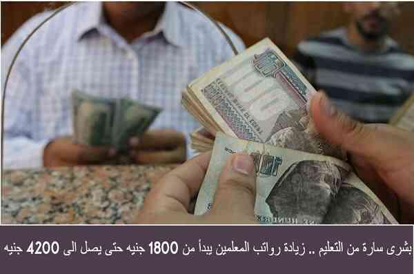 رواتب المعلمين في زيادة بعد توجيهات السيسي تبدأ من 1800 جنيه حتى 4200 جنيه