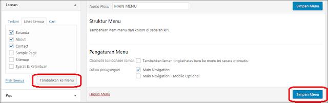 cara membuat menu navigasi pada blog wordpress