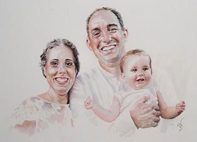 retrato en acuarela de pareja y su hijo