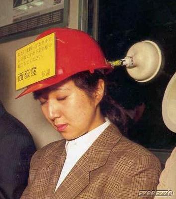 Invento extraño-casco para dormir