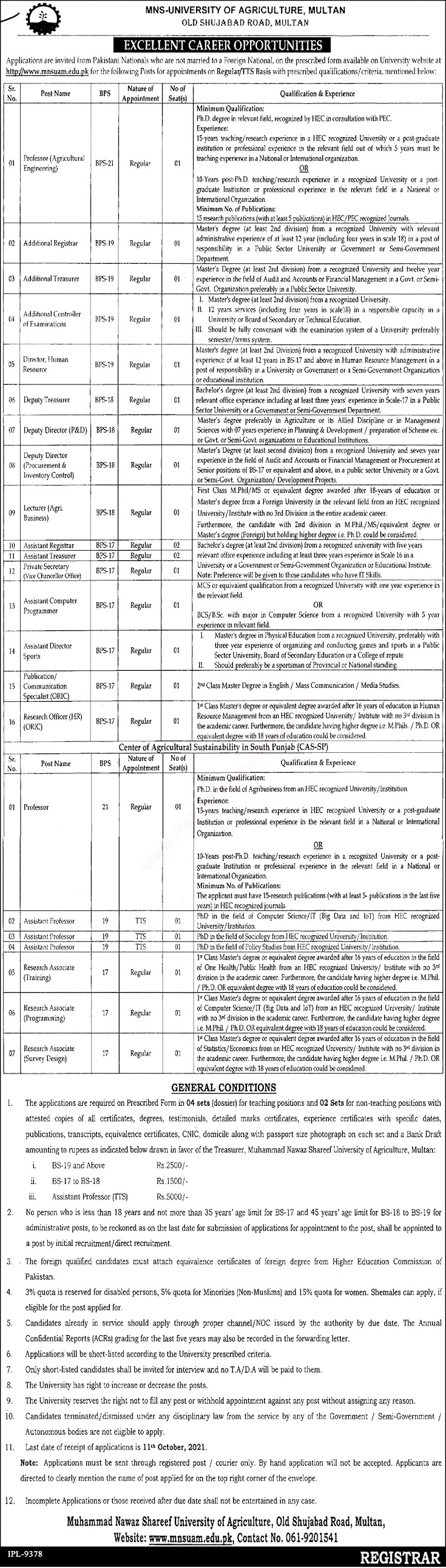 MNS University of Agriculture Multan Latest Jobs September 2021 Download Application Form