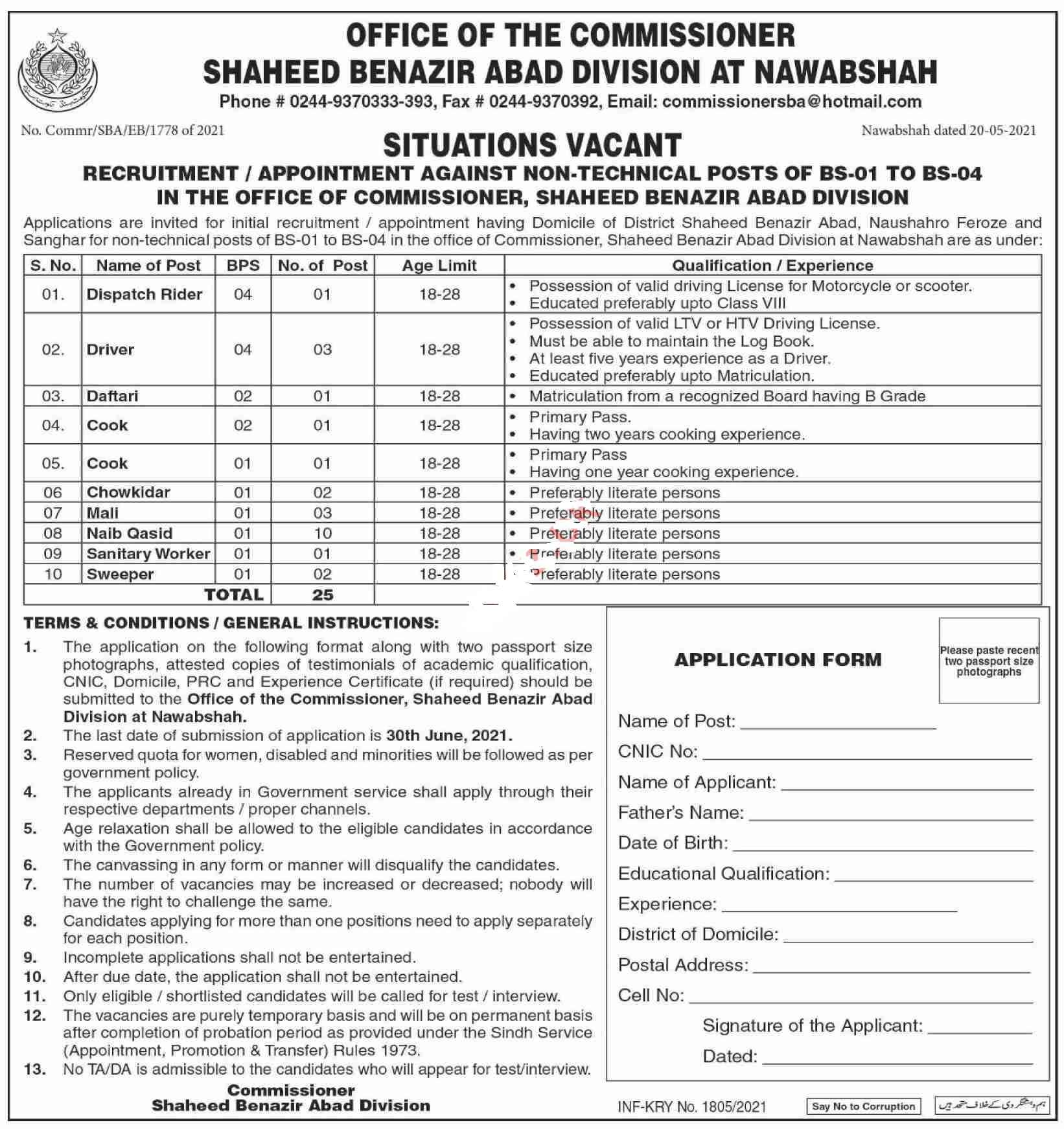 25 Posts in Commissioner Shaheed Benazirabad Division Jobs 2021