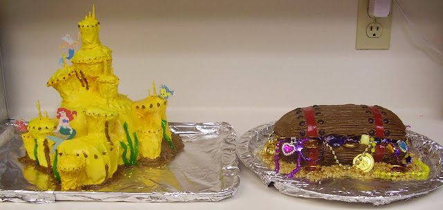 King Triton's Castle Cake with Treasure Chest Cake