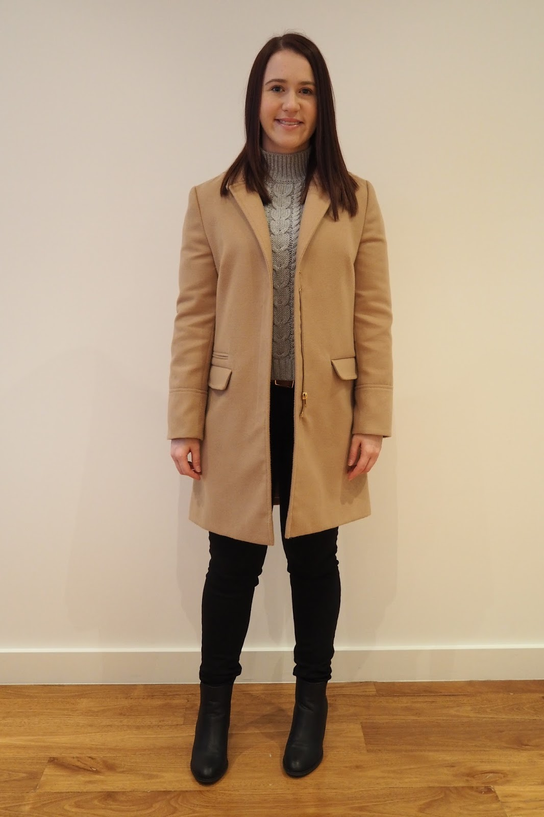 winter outfit, fall outfit, grey knit, camel coat outfit, camel coat, black jeans, black ankle boots, michael kors watch