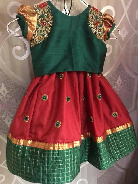 Red and Green Kids Work Lehenga