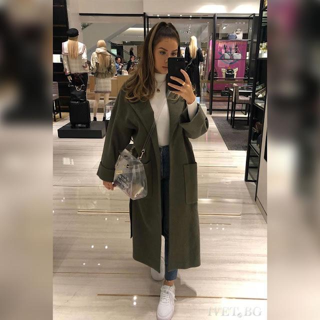 Γυναικείο χακί παλτό ALVIRA