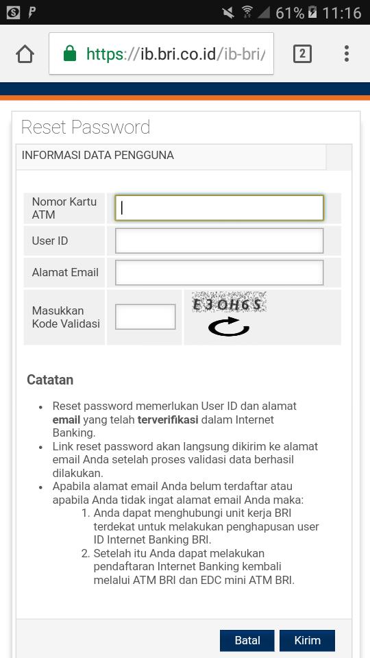 Lupa Password IB BRI https://ib.bri.co.id/ib-bri/id/Br42600b.html