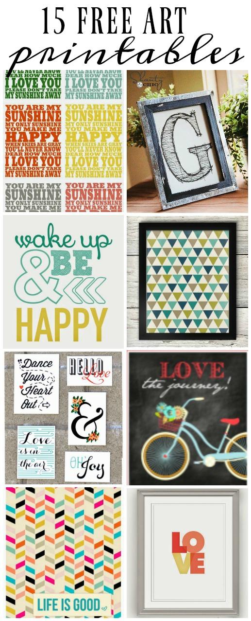 15 FREE art printables! www.littlehouseoffour.com