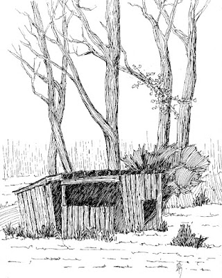 pen ink drawing sketch shed barn rural