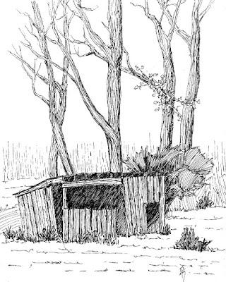 pen ink drawing sketch shed barn rural