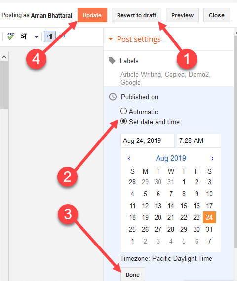 show updated date in blogger post
