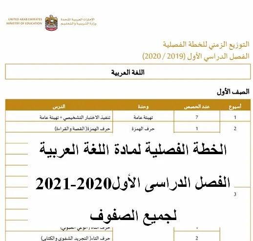 الخطة الفصلية لمادة اللغة العربية الفصل الدراسى الأول2020-2021 لجميع الصفوف