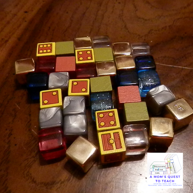 cubes from Dungeon Drop (grey, pink, blue, dice chests)