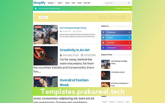 New Simplify 2 Free Blogger Template