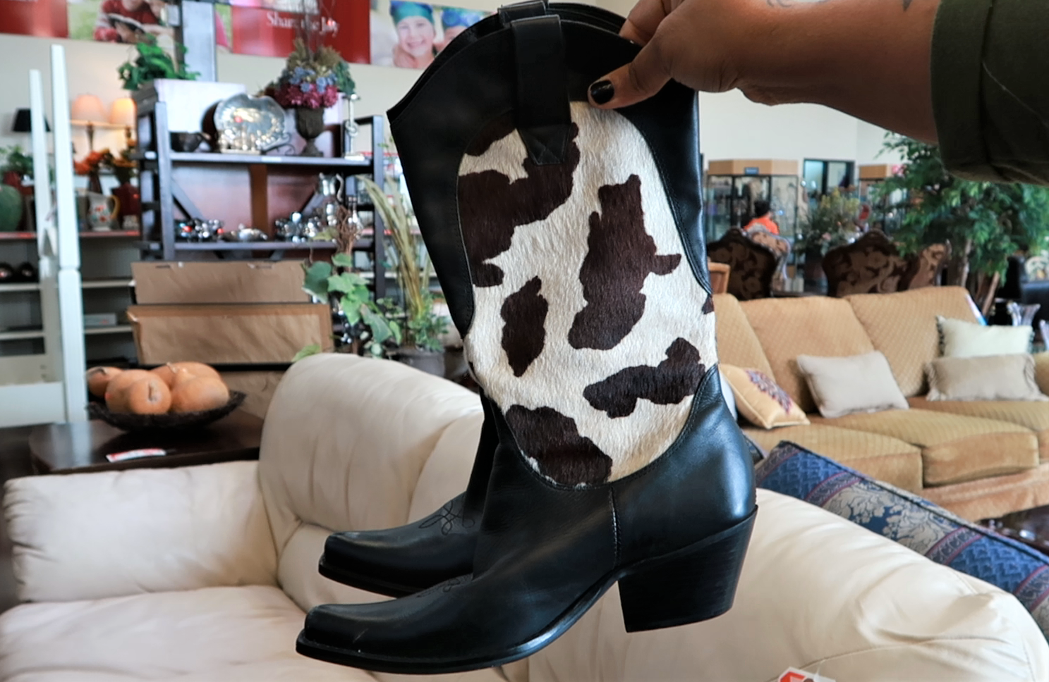 Cowhide boots found at the local thrift store. Thrift Bits And Favorites: Cowhide Boots, John Lennon Inspired Specs  And 70's Earrings