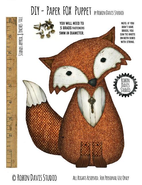 Free Fox Puppet Digital Download by Robin Davis Studio