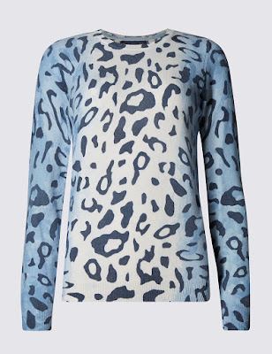 Marks and Spencer Pure Cashmere Animal print crew neck jumper