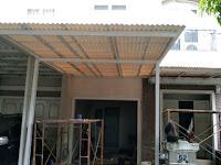 Pemasangan Kanopi baja ringan atap Alderon RS di Taman crystal , gading Serpong