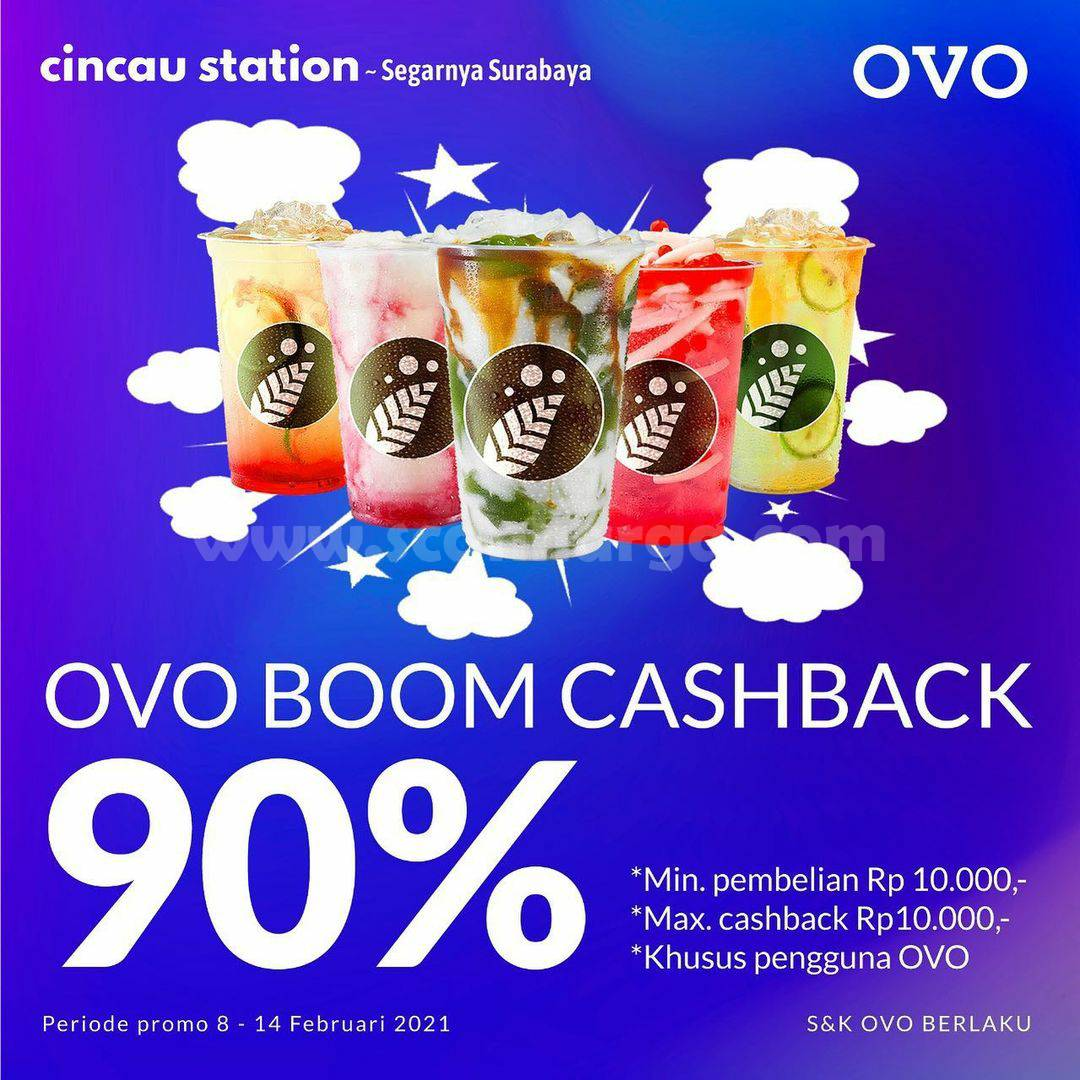 CINCAU STATION Promo BOOM! Belanja OVO Mania CASHBACK hingga 90%