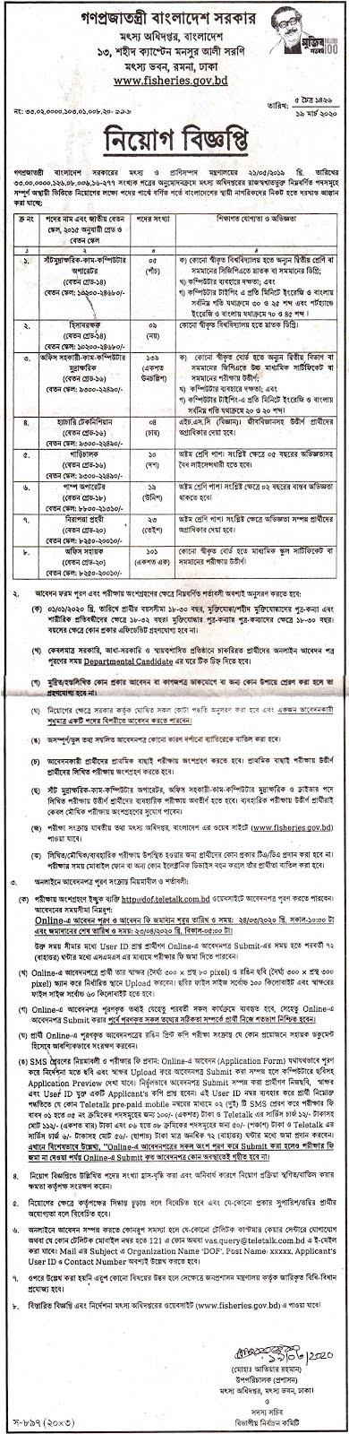 মৎস্য অধিদফতর চাকরির খবর ২০২০ - Fisheries Department Jobs News - 2020 -sorkari chakrir khobor 2020