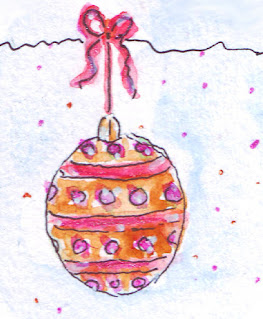 Christmas watercolour bauble drawing in pink and gold